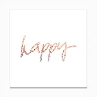Rosegold Happy Canvas Print
