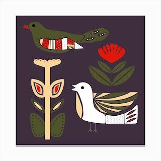 Folkie Birds 1 Canvas Print
