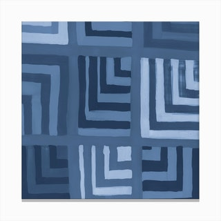 Painted Color Block Squares In Blue Canvas Print