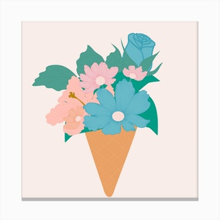 Blue And Pink Ice Cream Flower 2 Canvas Print