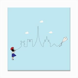 Paris Skyline Kite Canvas Print