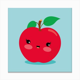 Nursery Kawaii Red Apple Canvas Print