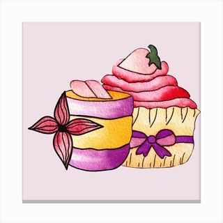 Purple And Pink Cupcakes Square Canvas Print