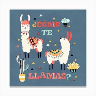 Llama With Cactus Como Te Llama Square Canvas Print