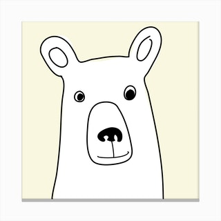 Bear in a Yellow Square Canvas Print