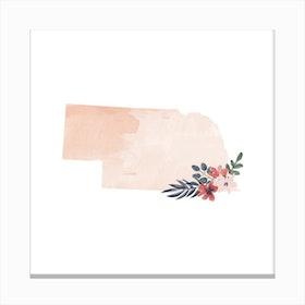 Nebraska Watercolor Floral State Canvas Print