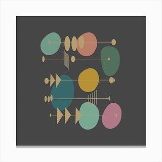 Retro Atomic Square Canvas Print