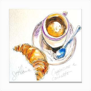 Watercolor Sketch Cappuccino E Cornetto Square Canvas Print