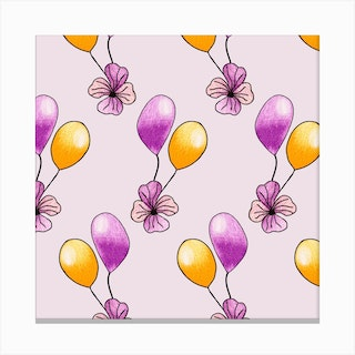 Purple And Yellow Balloons Square Canvas Print