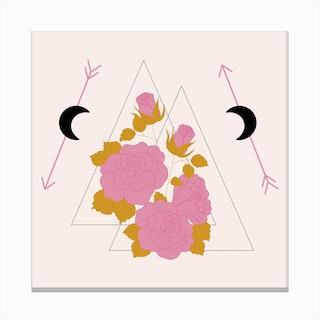Pink Roses And Geometrics Square Canvas Print