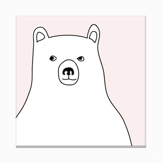 Bear in a Pink Square Canvas Print