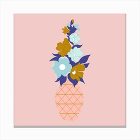 Blue And Gold Flowers In A Pink Vase 2 Canvas Print