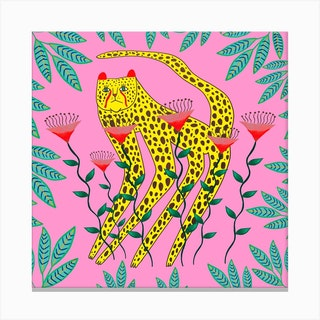 Yellow Cheetah2 Square Canvas Print