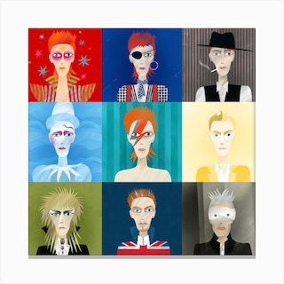 David Bowie Nine Portraits Canvas Print