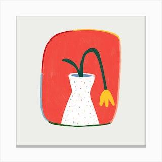 Yellow Tulip Square Canvas Print