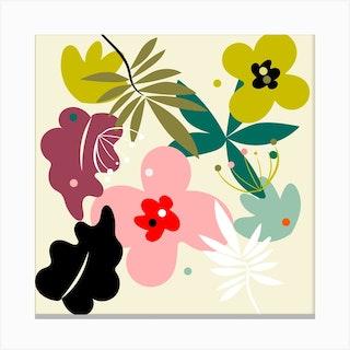 Mid Century Pastel Flowers Square Canvas Print