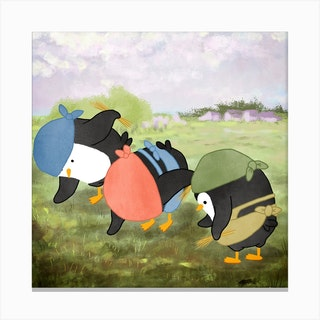 The Penguins Gleaners Art Series Canvas Print
