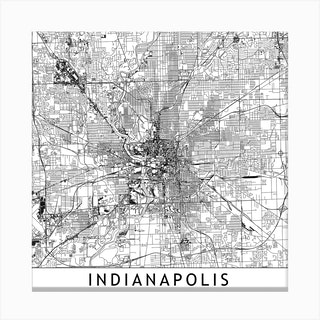 Indianapolis White Map Square Canvas Print