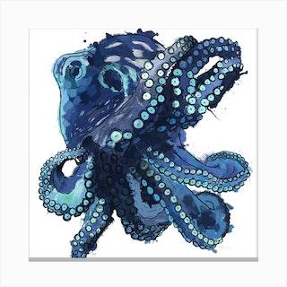 Splashy Octopus White Square Canvas Print