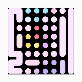 Dots And Levers 1 Square Canvas Print