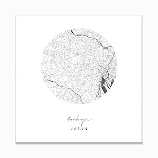 Tokyo Japan Circle Map Canvas Print