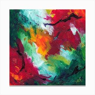 Scarlet Night Square Canvas Print