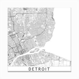 Detroit Map Canvas Print