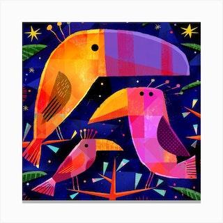 Tropical Birds Square Canvas Print