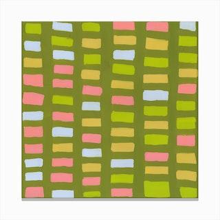 Painted Color Block Window Pane In Multi Canvas Print