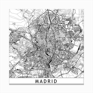 Madrid Map Canvas Print
