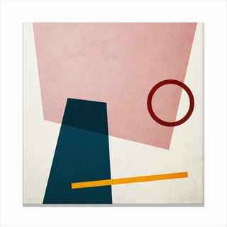 Conceptual Abstract Shapes Pink And Blue Square Canvas Print