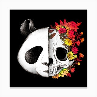 Panda Skull Rock Square Canvas Print