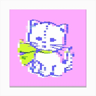 Pixel Cat Square Canvas Print