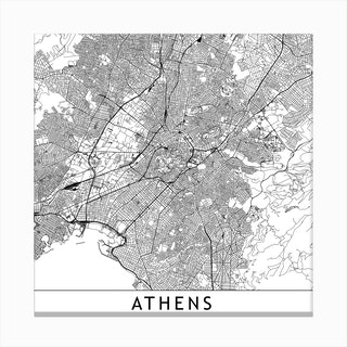 Athens Map Canvas Print