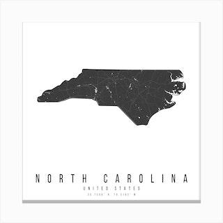 North Carolina Mono Black And White Modern Minimal Street Map Square Canvas Print