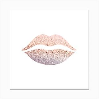 Rosegold Lips Canvas Print