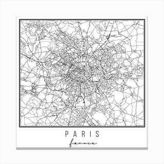Paris France Street Map Canvas Print