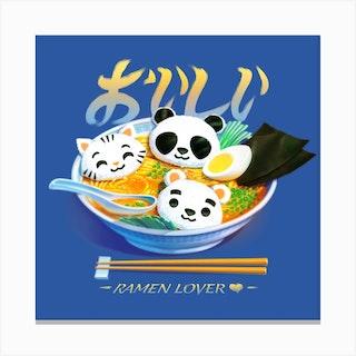 Ramen Panda Cat Bear Canvas Print