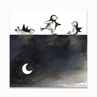 Penguins Skating Square Canvas Print