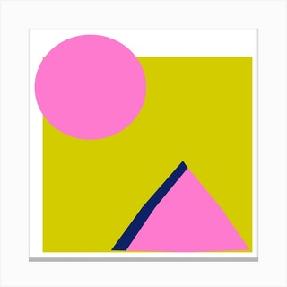 Lime And Pink Square Canvas Print