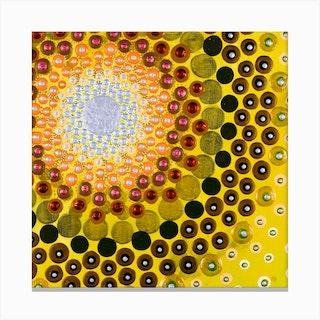 Vibrant Salmon And Mustard Square Canvas Print