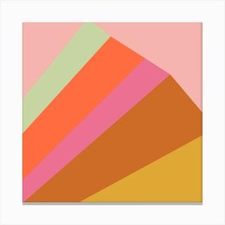 Mountain Rainbow Square Canvas Print