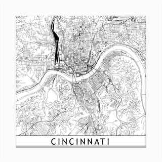 Cincinnati Map Canvas Print