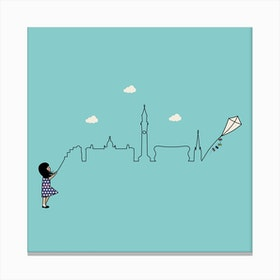 Birmingham Skyline Kite Canvas Print
