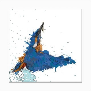 Kingfishers Catch White Square Canvas Print