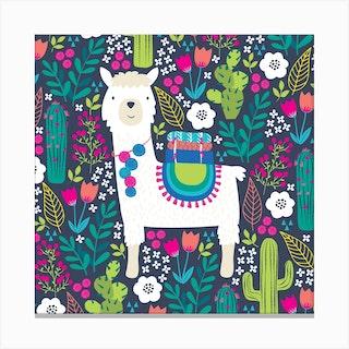 Llama Garden Square Canvas Print