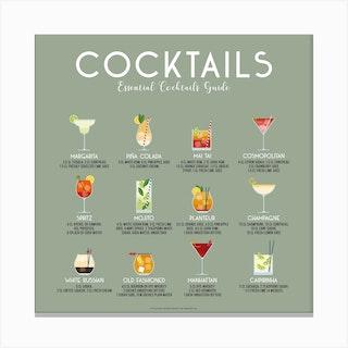 Essential Cocktails Guide Square Canvas Print