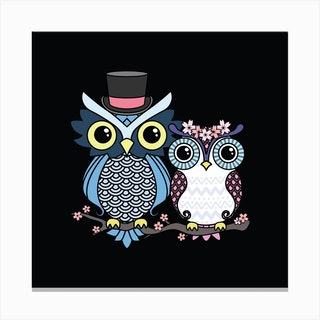Owl Love Square Canvas Print
