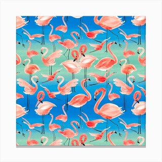Flamingo Pink Square Canvas Print