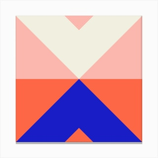 Split X Pink And Blue Square Canvas Print